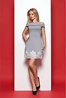 Короткое платье-трапеция с открытими плечами с кружевом 42-48 размера
