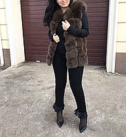 """Стильный жилет из финского песца """"Шоколад"""", длина 75 см"""