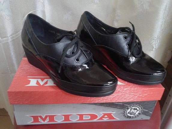 Женские туфли натуральная кожа на невысокой танкетке МИДА 21570 черные., фото 2