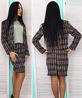 Женский весенний костюм  пиджак и юбка букле