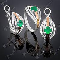 Серебряный набор украшений с агатом и фианитами. Артикул А-377