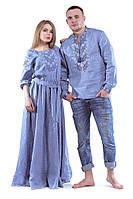 Вышиванки для пары - длинное платье и мужская рубашка