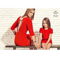 Одинаковая одежа Family Look Мама и Доченька Комплект Платьев коротких трикотажных Лиити