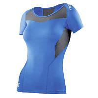 Женская компрессионная поддерживающая футболка 2XU WA2269a (голубой / серый)
