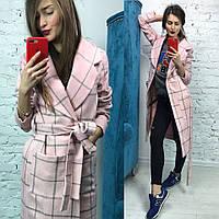 """Пальто """" Барбери """" цвет розовый 12451"""