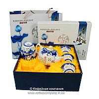 Набор китайской чайной церемонии Фарфор с прозрачными вставками Море 7 предметов подарочный
