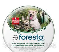 Ошейник ФОРЕСТО 38 см п/блох для собак и котов мелких пород Bayer
