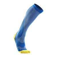 Мужские компрессионные спортивные гольфы для бега 2XU MA2442e (голубой / жёлтый)