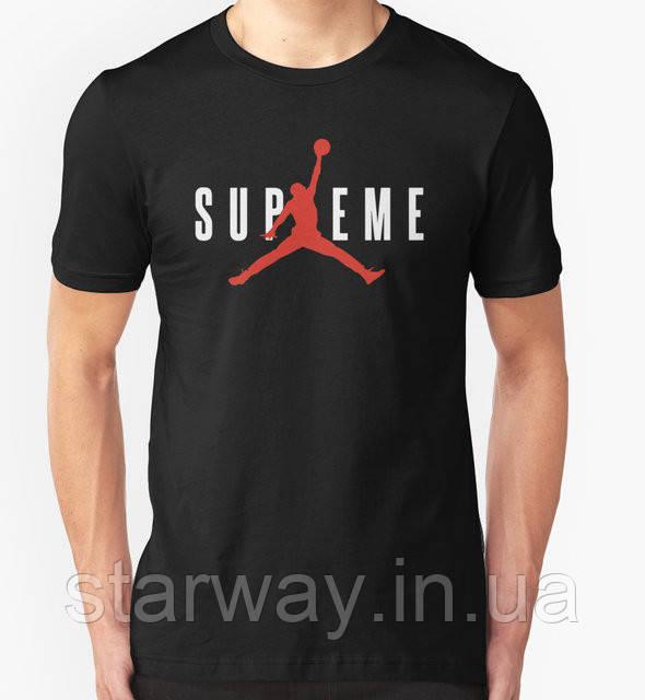 Футболка серная   Supreme Jordan logo  