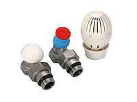 Краны радиаторные прямые + термоголовка (верх.низ) Giacomini 1/2х1/2