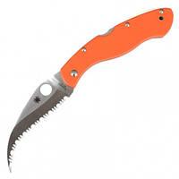 Нож складной керамбит SPYDERCO Civilian С12GS (длина: 23.0см, лезвие: 10.5см), оранжевый