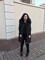 Удлиненный жилет из финского песца на коже со змейками по бокам, длина 90 см