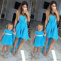 Одинаковая одежа Family Look Мама и Доченька Комплект Платьев Сахаатс