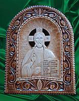 """Икона  Иисуса Христа """" Спас Вседержитель """" , резьба по дереву"""