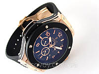 Механические часы HUBLOT - Big Bang  с автозаводом, каучуковый черный ремешок, цвет золото, фото 1