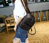 Рюкзак сумка жіночий молодіжний матовий (чорний), фото 3