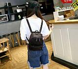 Рюкзак сумка жіночий молодіжний матовий (чорний), фото 5