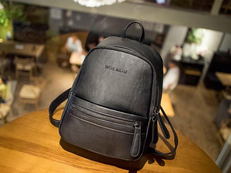 Рюкзак сумка жіночий молодіжний матовий (чорний)