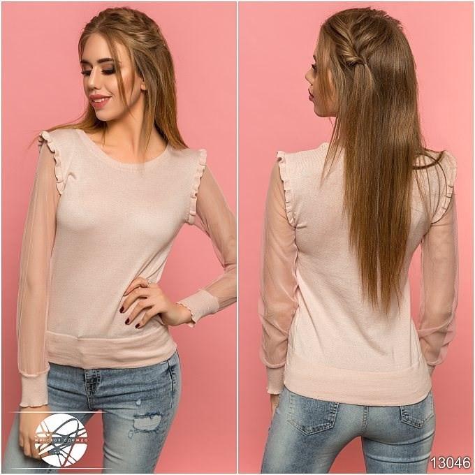 a12601a97e24 Купить Женская кофта бежевого цвета с длинным рукавом. Модель 13046 ...