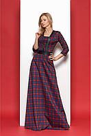 Красное длинное платье в клетку с кожаными вставками