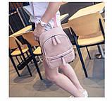 Рюкзак сумка жіночий молодіжний матовий (чорний), фото 7