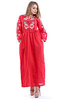 """Вышитое красное платье в пол """"Большие розы"""""""