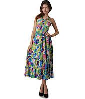 Платье сарафан в пол голубое