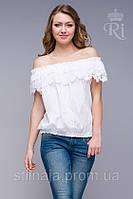 Блуза оборка из натуральной ткани индия белый цвет