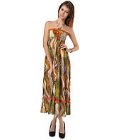 Платье сарафан в пол оранжевое