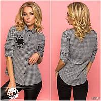Женская коттоновая рубашка в клетку черно-белого цвета. Модель 13041.