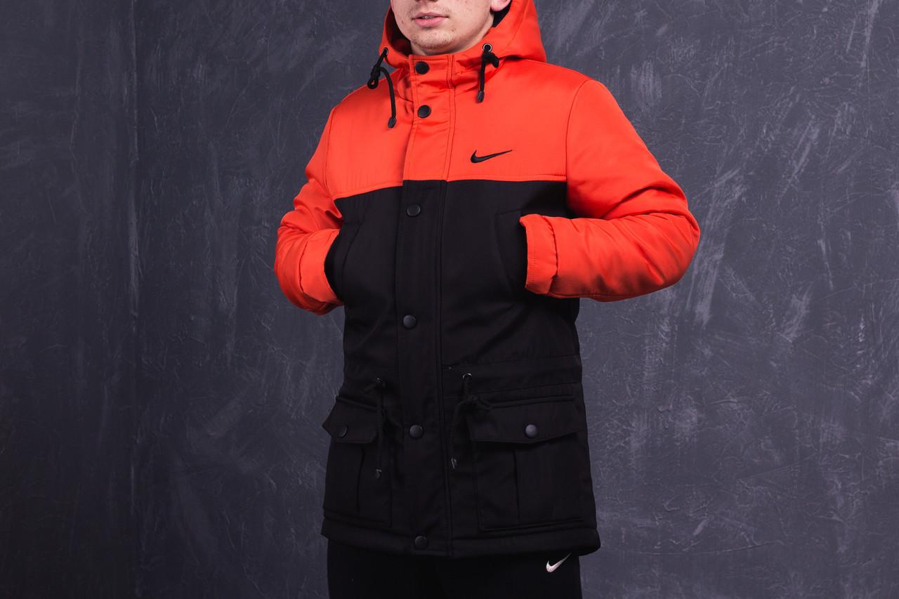 5820c707 Зимняя мужская парка (куртка) Nike, чёрно-оранжевая РАСПРОДАЖА ...