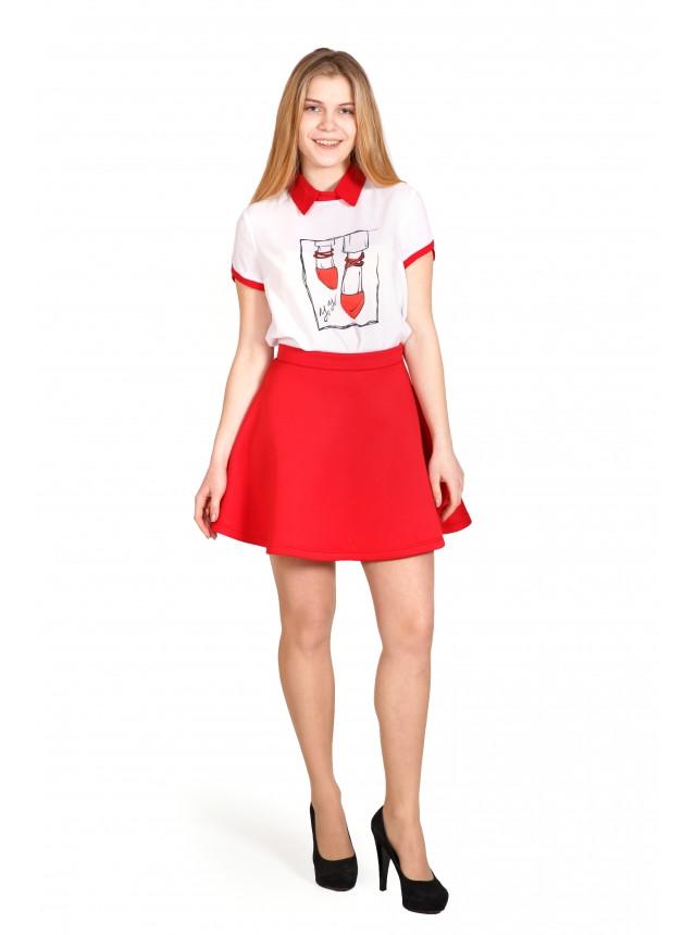 Юбка клеш красная из неопрена купить, №1657 Юбку женскую, молодежную, качественную купить не дорого