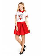 Юбка клеш со складими красная из неопрена купить, №1658 Юбку женскую, молодежную, качественную купить не дорог