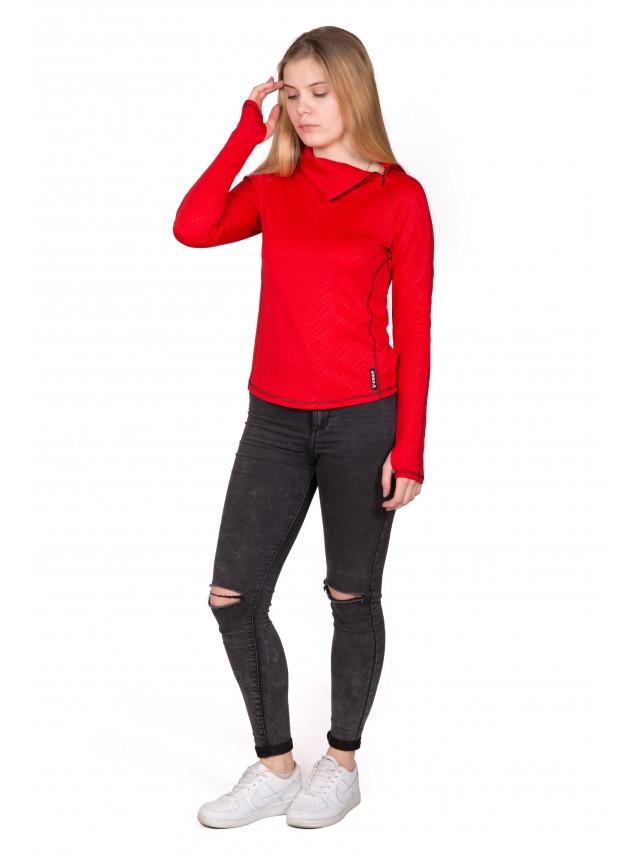 Свитшот из дайвинга декоративные швы Купить цвет: красный размеры: 42,44,46,48 № 1433 женский, молодежный