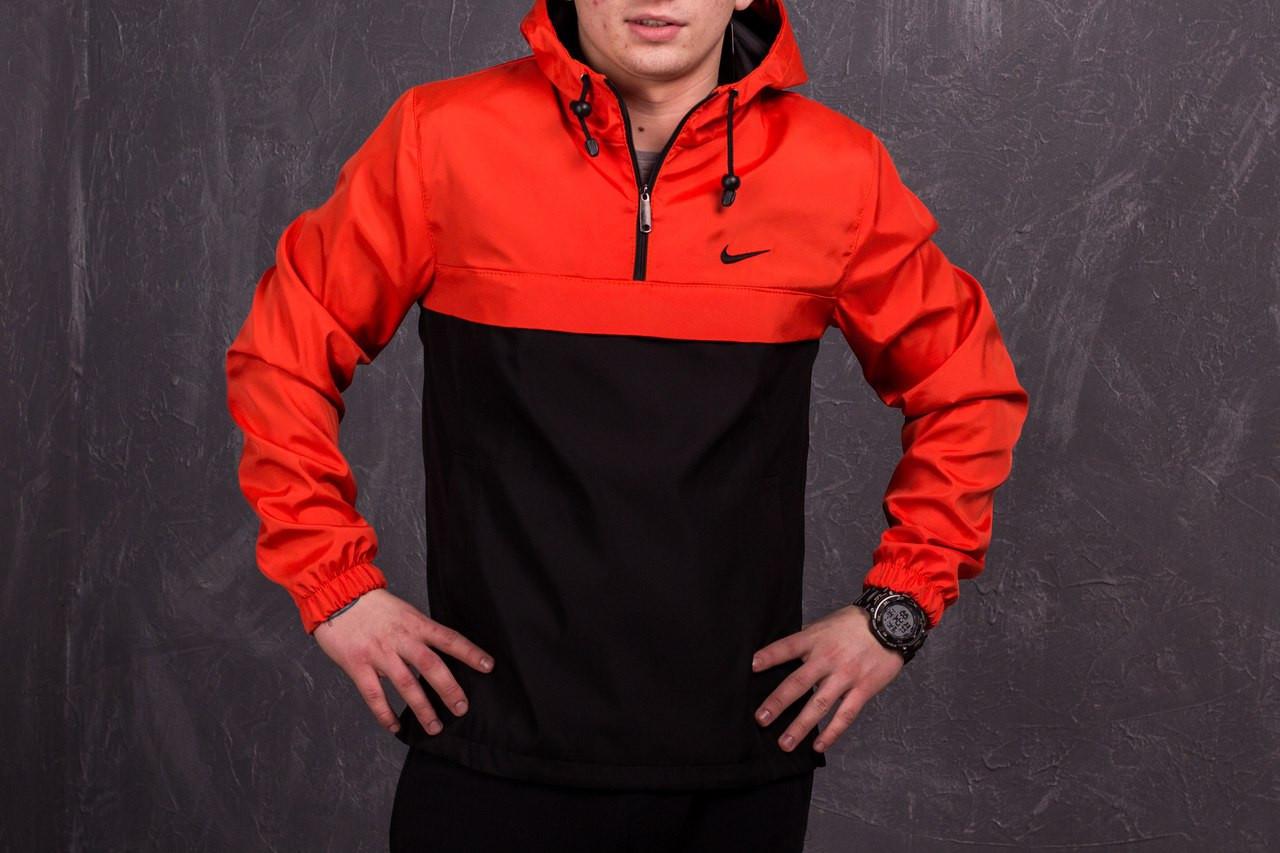 a7a1f0ed Оранжево-черный мужской анорак Nike (куртка, ветровка) есть ОПТ ...