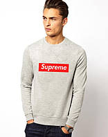 Свитшот |Supreme logo| Кофта серая