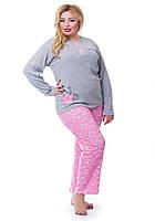 Женская теплая пижама большого размера