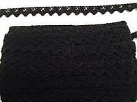 Кружево лен, цвет черный, ширина 10мм (48м в упаковке)