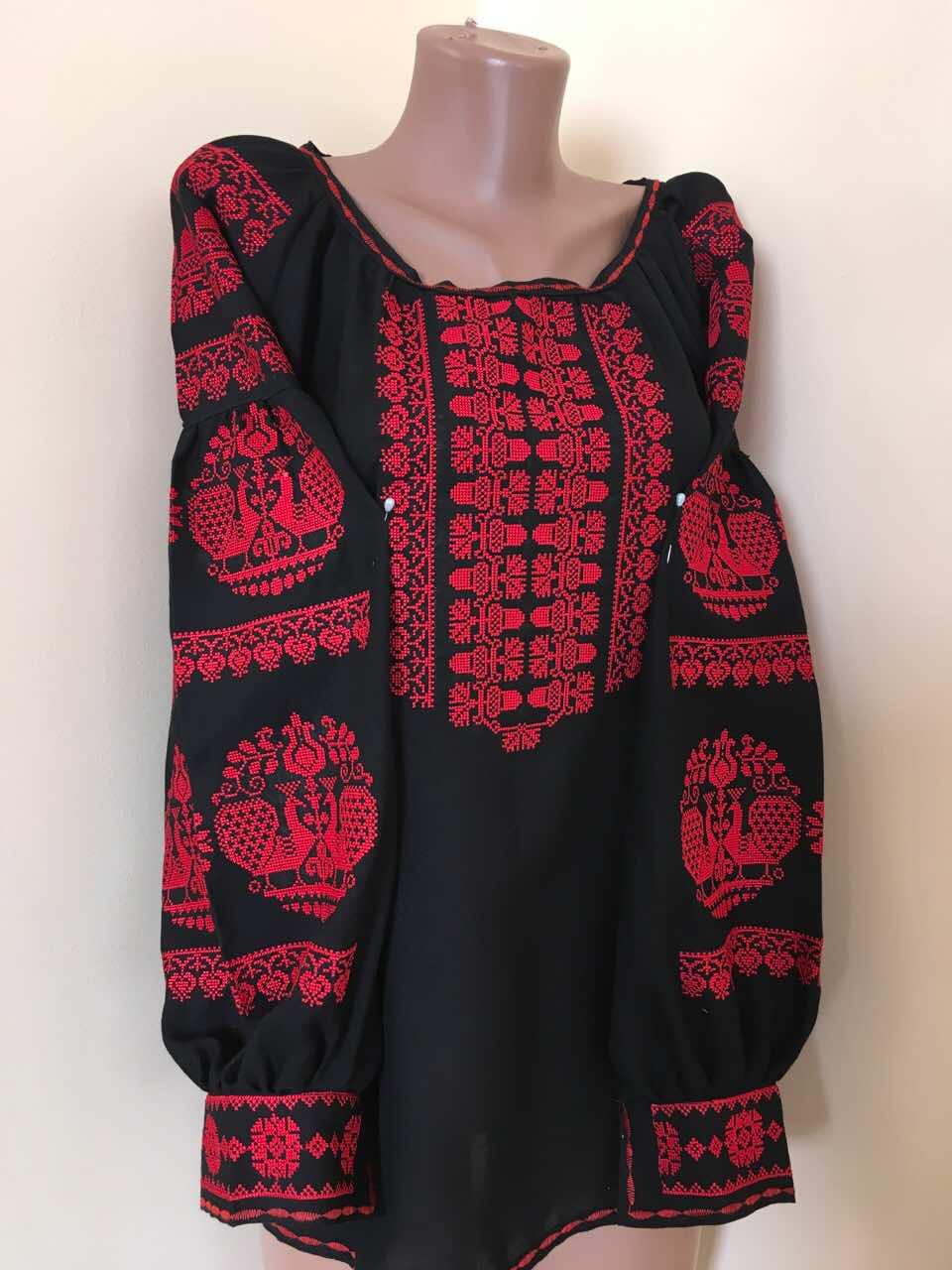 Чорна вишиванка жіноча на домотканому полотні 48  продажа 97d3c1ed30e71