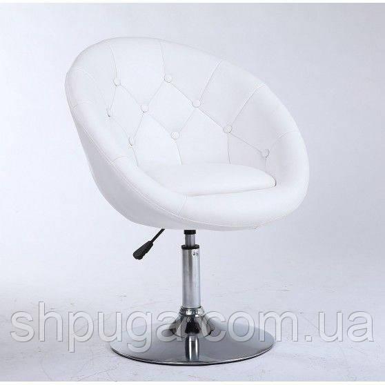 Парикмахерское кресло HC-8516 белое пуговицы