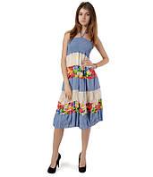 Ярусная юбка-сарафан голубая, фото 1