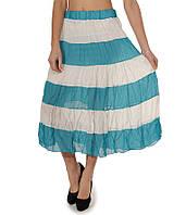 Ярусная юбка шифоновая голубая в полоску, фото 1