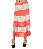 Ярусная юбка шифоновая коралловая в полоску