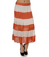 Ярусная юбка шифоновая оранжевая в полоску