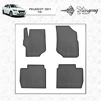 Коврики резиновые в салон Peugeot 301 2013 (4шт) Stingray