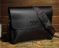 Сумка Polo мужская кожаная через плечо. Чоловіча сумка Polo. Сумка планшетка | Коричневая