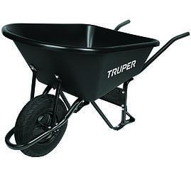 """Тачка садова TRUPER з посиленою пневматичною шиною 16"""" ND і пластиковим коритом 120 літрів"""