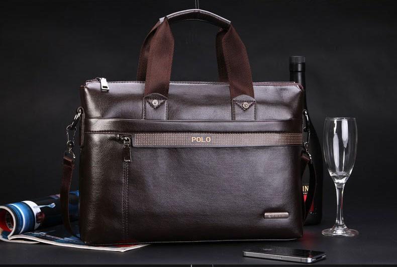 Polo сумка кожаная для документов коричневая