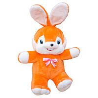 Мягкая игрушка Заяц Сеня большой оранжевый арт.039-4