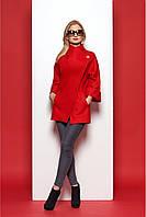 Короткое женское полупальто свободного кроя с оригинальным воротником красное